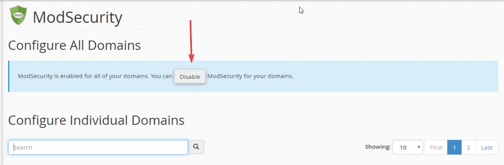 Bạn chọn Enable để sử dụng ModSecurity