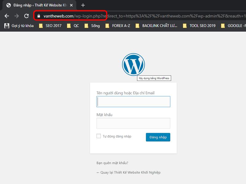 Đường dẫn đăng nhập trang quản trị website wordpress