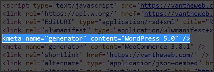 WordPress mặc định sẽ hiển thị ra phiên bản trong meta name dễ bị tin tặc tấn công