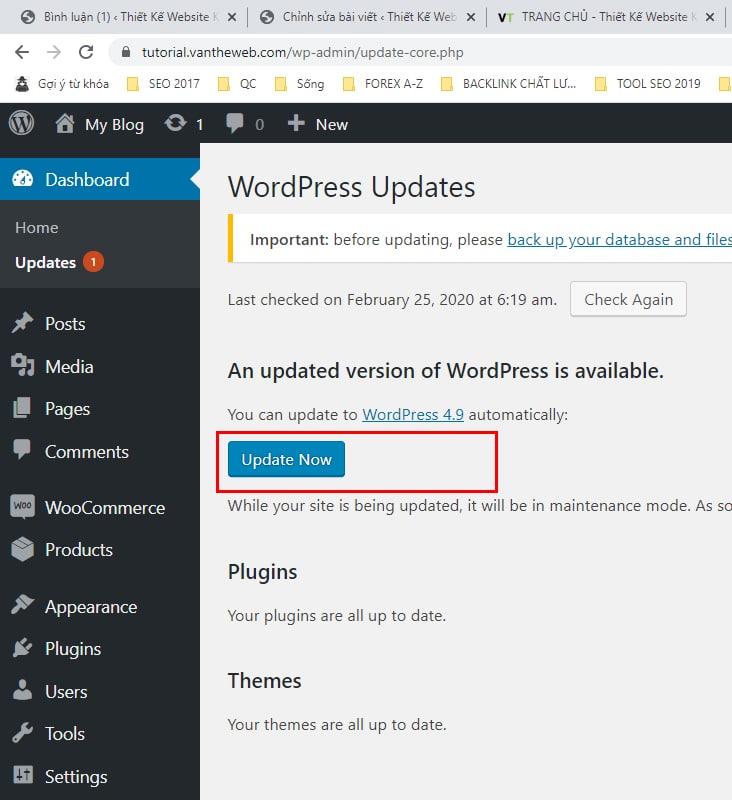 Hướng dẫn cập nhật bản wordpress mới nhất