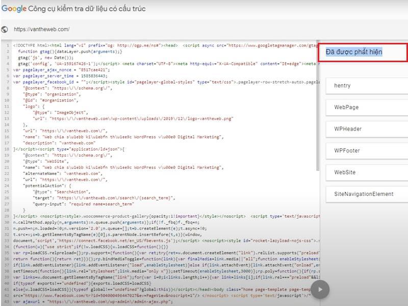 Kiểm tra website đã có cấu trúc Schema chưa