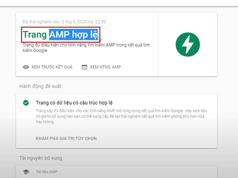 Kiểm tra website đã tích hợp AMP Google chưa